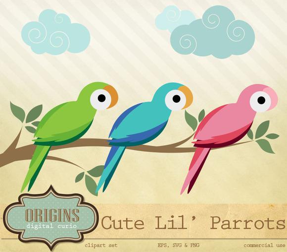 Cute Parrots Vector PNG Clipart