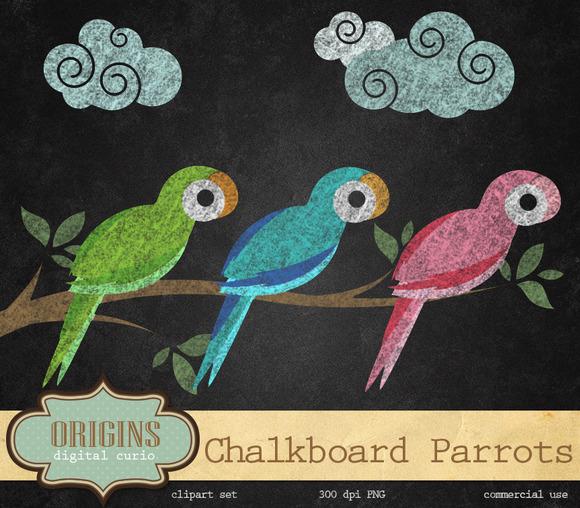Chalkboard Parrots Clipart
