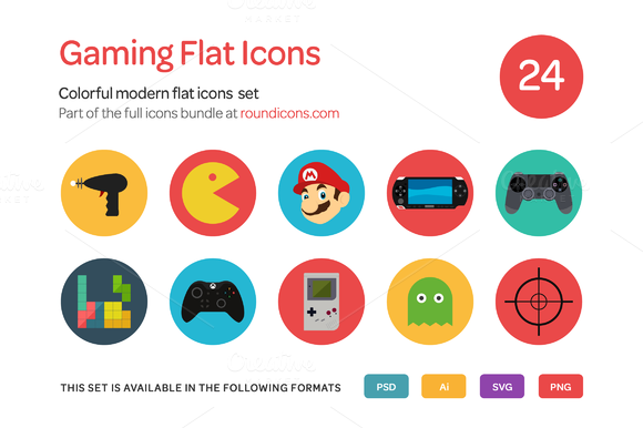 Gaming Flat Icons Set