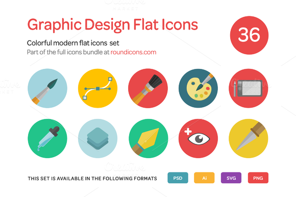 Graphic Design Flat Icons Set