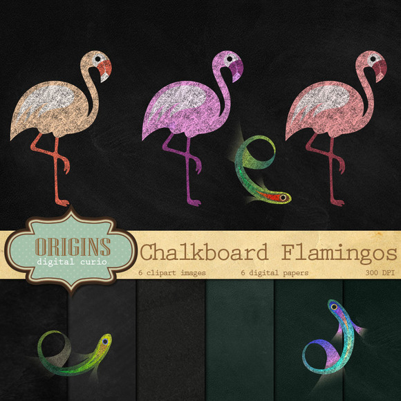 Chalkboard Flamingos Clip Art