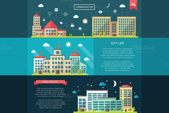 Flat Design Urban Landscapes