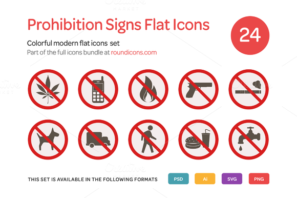 Prohibition Signs Flat Icons Set