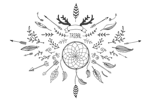 40 Hand Drawn Tribal Elements