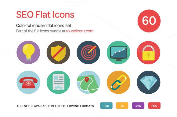 SEO Flat Icons Set