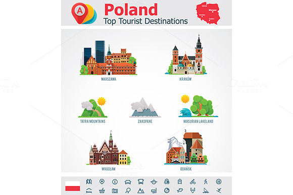 Poland Travel Destinations Icons