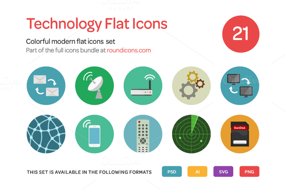 Technology Flat Icons Set