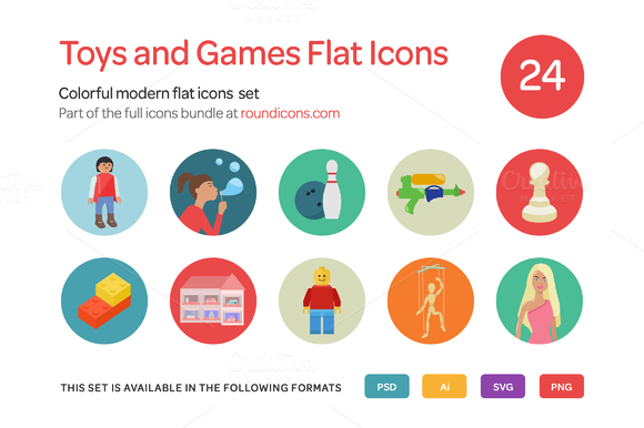 Toys And Games Flat Icons Set