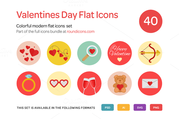 Valentine S Day Flat Icons Set