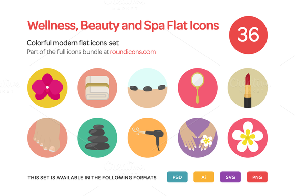 Wellness Beauty And Spa Flat Icons