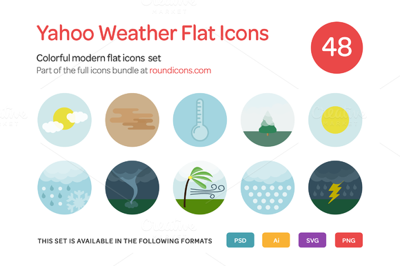 Yahoo Weather Flat Icons Set