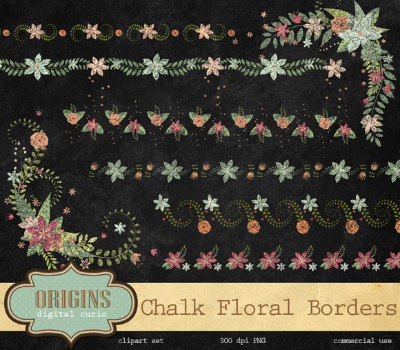 Chalk Floral Borders And Corners
