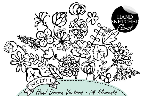 24 Floral Flowers Hand Drawn Vectors