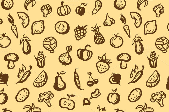 Fruits And Vegetables Retro Pattern