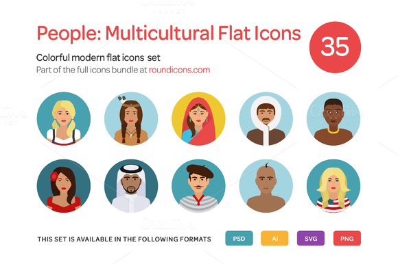 People Multicultural Flat Icons