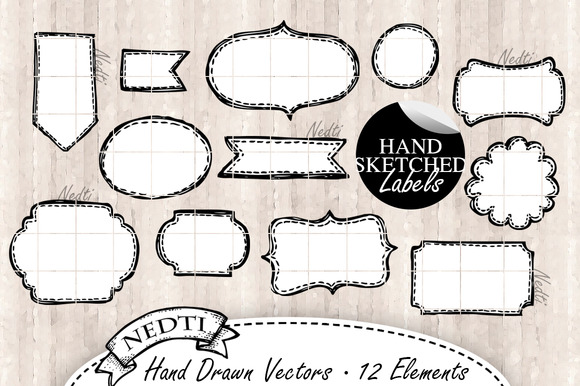 12 Tags And Labels Hand Drawn Vector