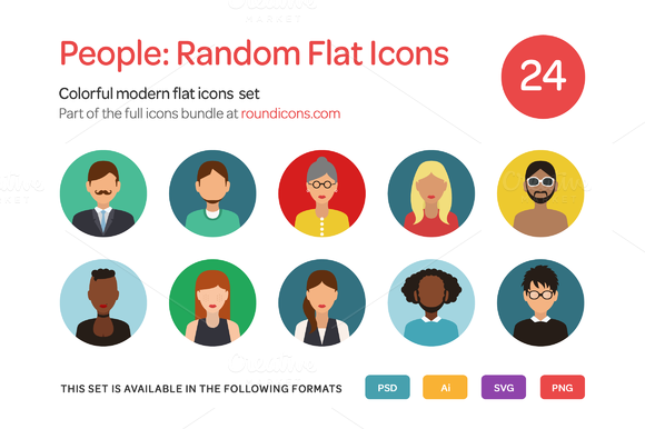 People Random Flat Icons Set