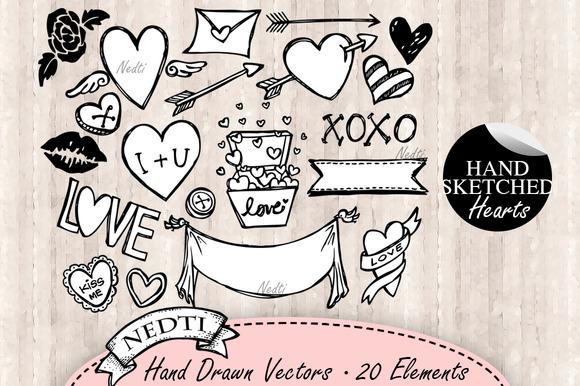 Hearts Doodle Hand Drawn Vector
