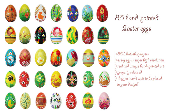 35 Hand-painted Easter Eggs