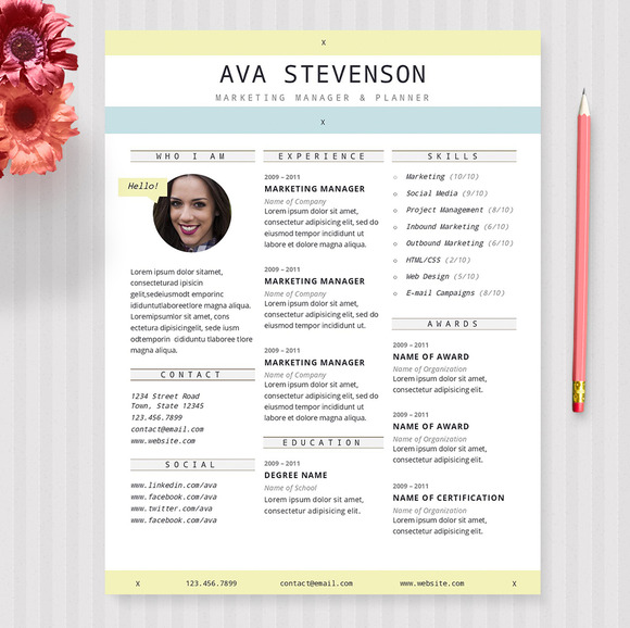 The Ava 3 Pack Resume Template
