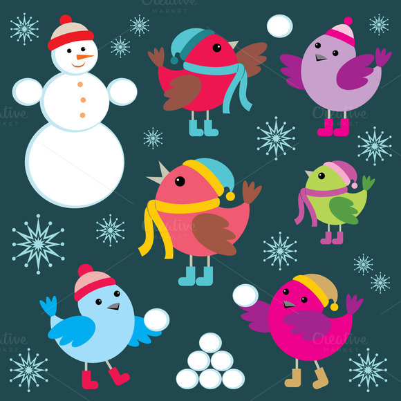 Set Of Winter Birds And Snow Man