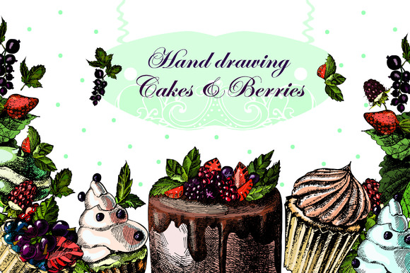 Hand Drawing Cake And Berries