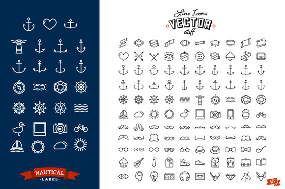 Line Icon Set For Hipster Design