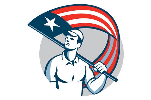 American Tradesman Holding USA Flag