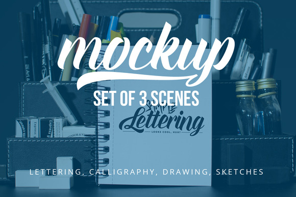 Lettering Drawing Mockup Set 2