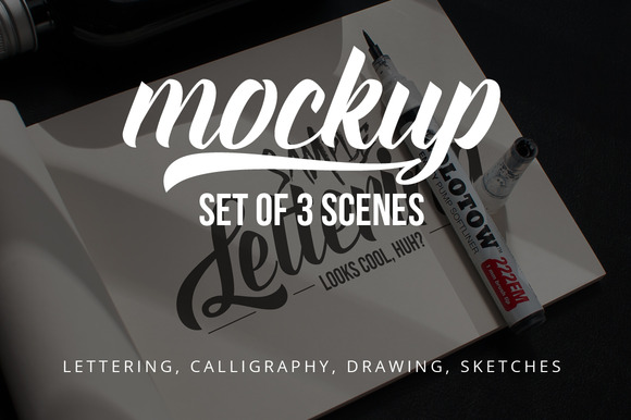 Lettering Drawing Mockup Set