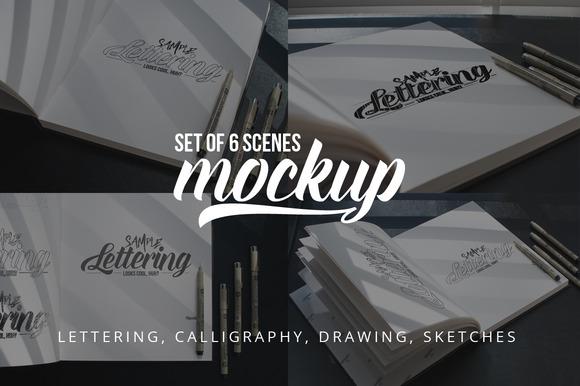 Lettering Drawing Mockup Set 3