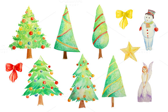 Watercolor Clipart Christmas Trees