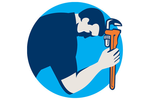 Plumber Bowing Holding Monkey Wrench