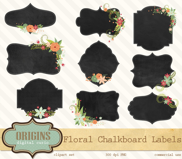 Floral Chalkboard Labels Clipart