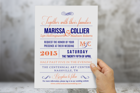 Coral Navy Word Wedding Invitation
