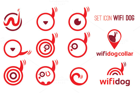 Set Icons Of Wifi Dog