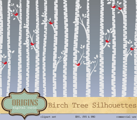 Birch Tree Silhouette Vector Clipart