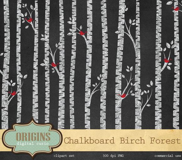 Chalkboard Birch Tree Forest Clipart