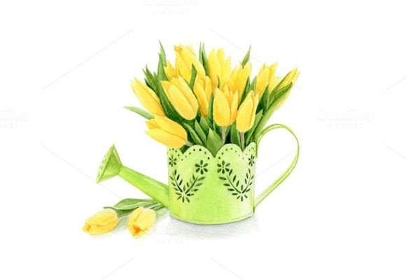 Watercolor Yellow Tulips