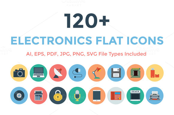 120 Electronics Flat Icons