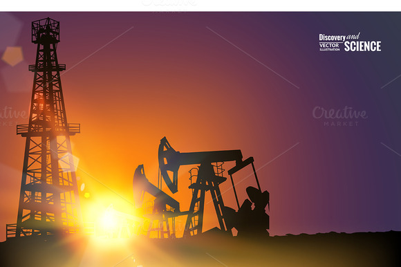 Oil Field Over Sunset