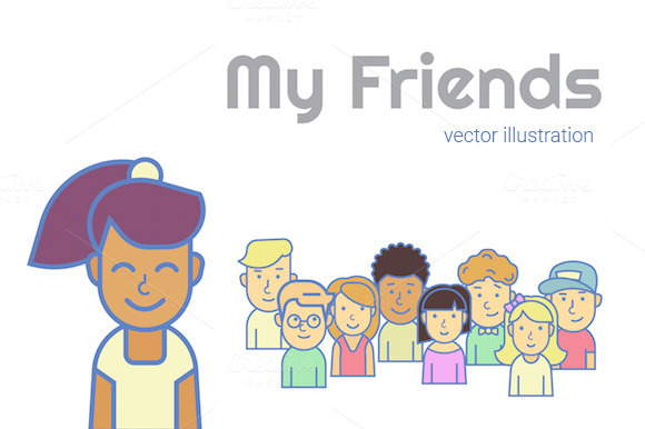 My Friends Vector Illustration