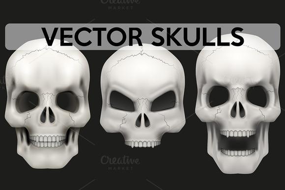 Vector Set Of 3 Human Skulls