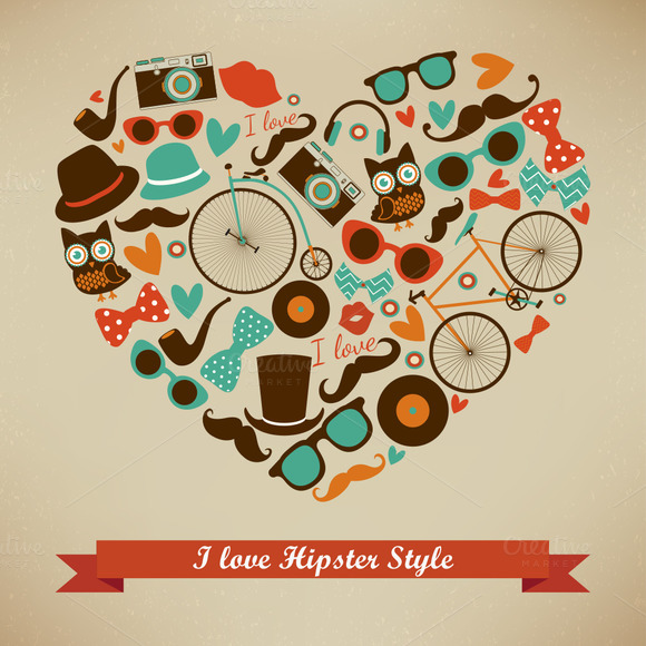 I Love Hipster Style Illustration