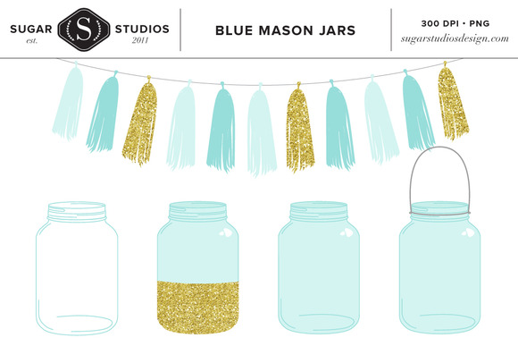Blue Mason Jars With Tassel