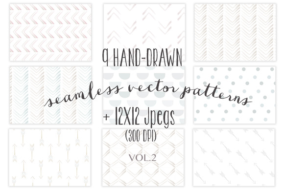9 Seamless Hand-drawn Patterns Vol.2