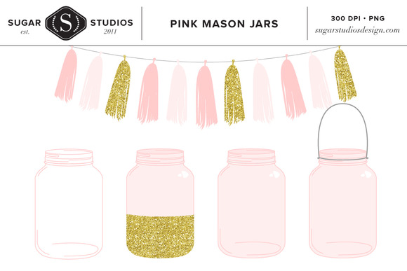 Pink Mason Jars With Tassel