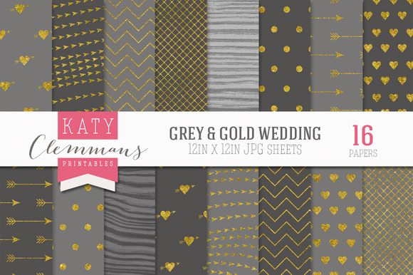 Gray Gold Wedding Luxe Paper Pack