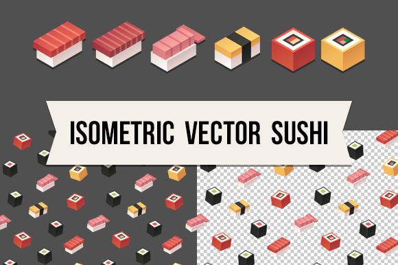 Isometric Vector Sushi Pattern