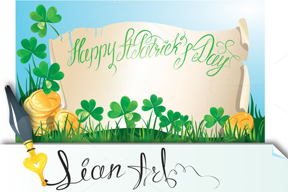 Happy St Patrick`s Day Old Scroll